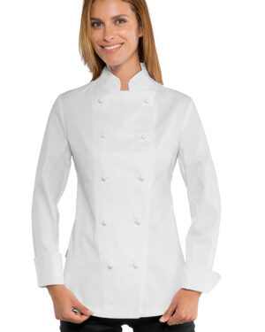 Manica Lunga 100/% Cotone Satin 180 gr//m/² Bianco Isacco Giacca Lady Chef Bianco S